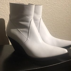 Zara White Leather Boots (NWT)